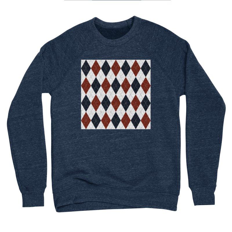 FLD Blue Red Argyle Women's Sponge Fleece Sweatshirt by falconlara.design shop