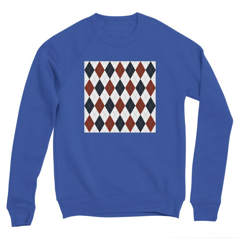 FLD Blue Red Argyle Women's Sponge Fleece Sweatshirt by falconlara.design shop