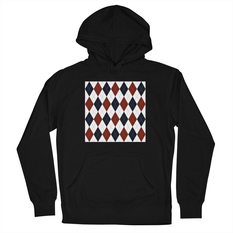 FLD Blue Red Argyle Women's French Terry Pullover Hoody by falconlara.design shop