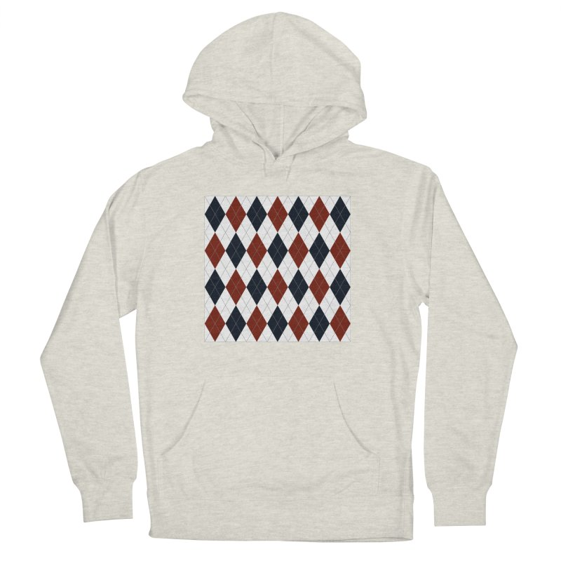FLD Blue Red Argyle Men's French Terry Pullover Hoody by falconlara.design shop