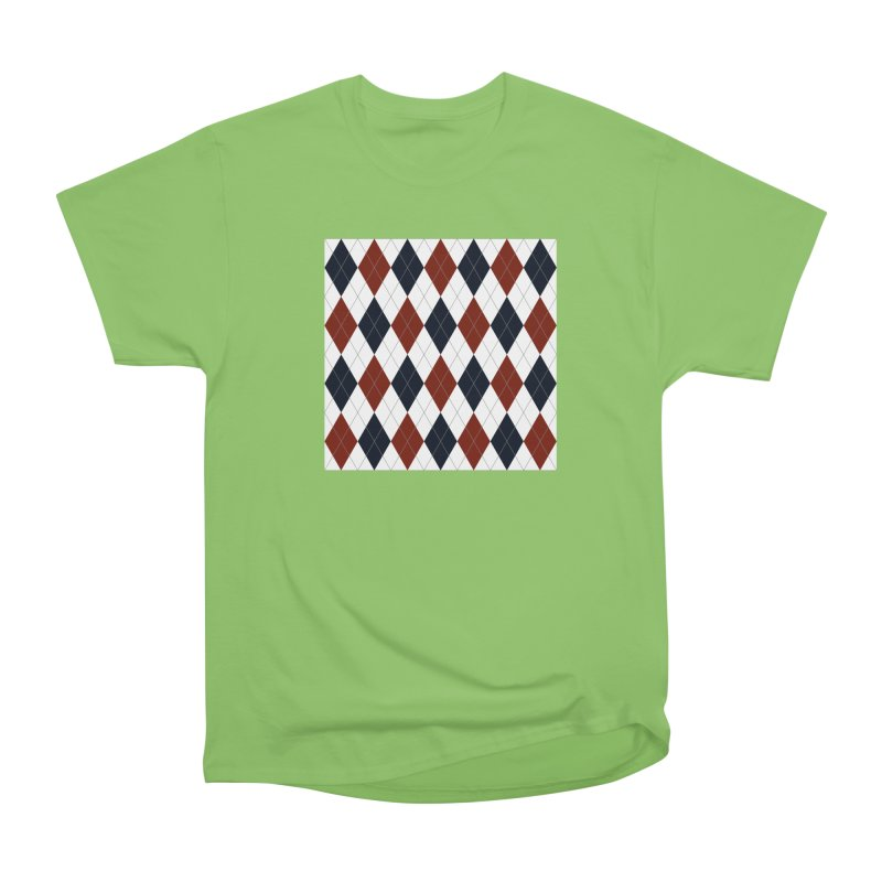 FLD Blue Red Argyle Women's Heavyweight Unisex T-Shirt by falconlara.design shop