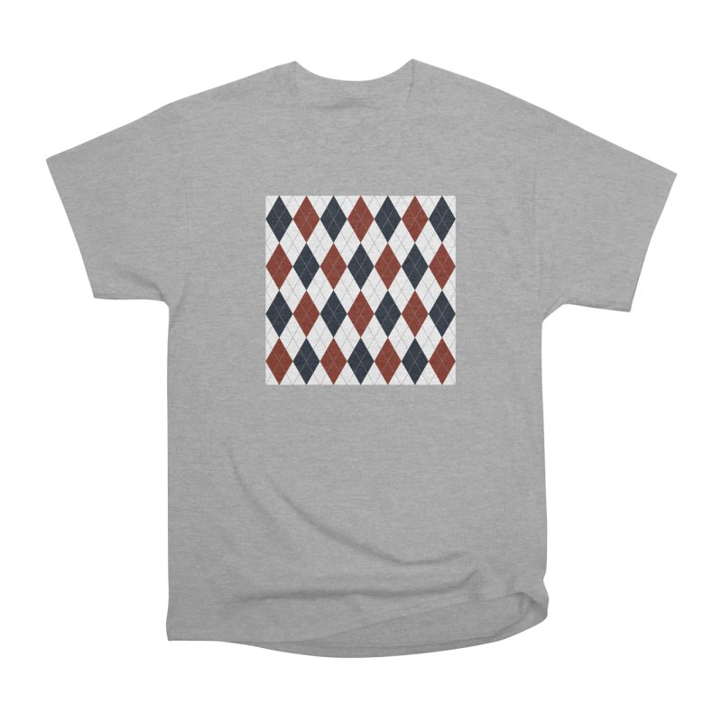 FLD Blue Red Argyle Men's Heavyweight T-Shirt by falconlara.design shop