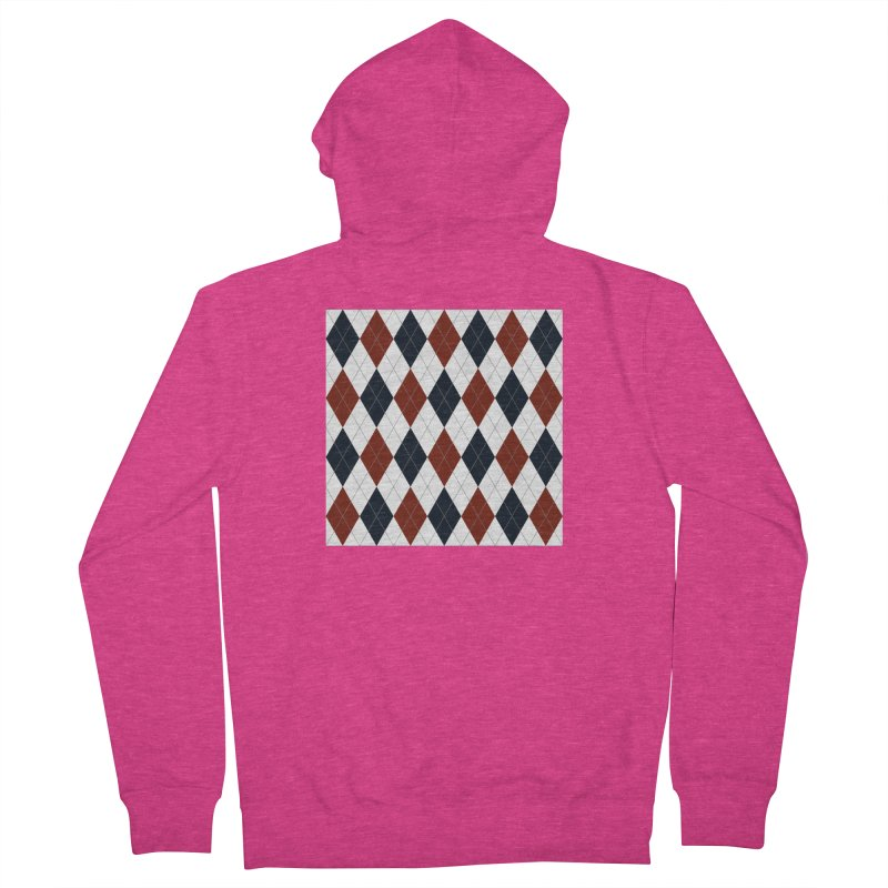 FLD Blue Red Argyle Women's French Terry Zip-Up Hoody by falconlara.design shop