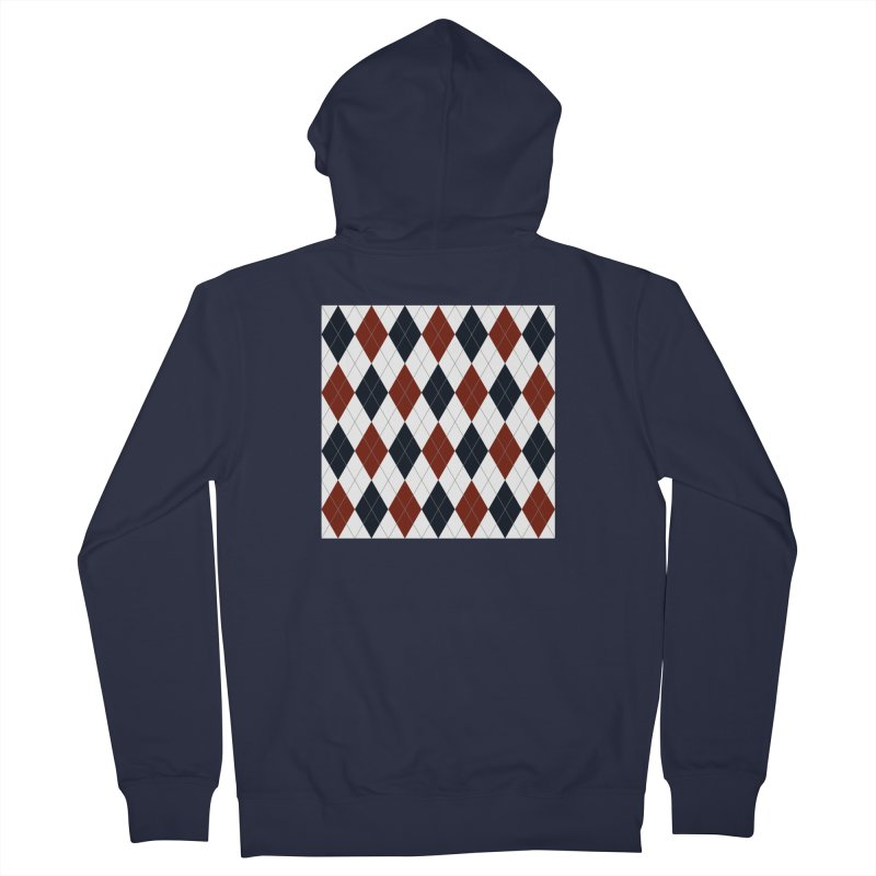 FLD Blue Red Argyle Men's French Terry Zip-Up Hoody by falconlara.design shop