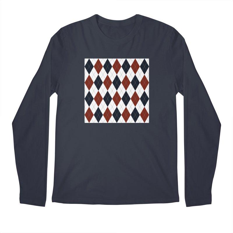 FLD Blue Red Argyle Men's Regular Longsleeve T-Shirt by falconlara.design shop