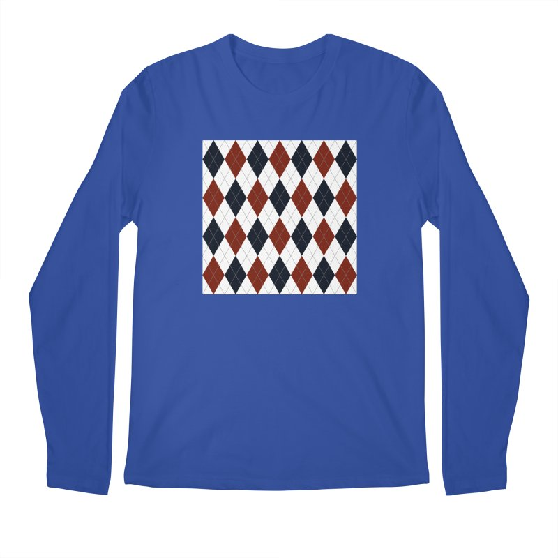 FLD Blue Red Argyle Men's Regular Longsleeve T-Shirt by falconlara.design shop