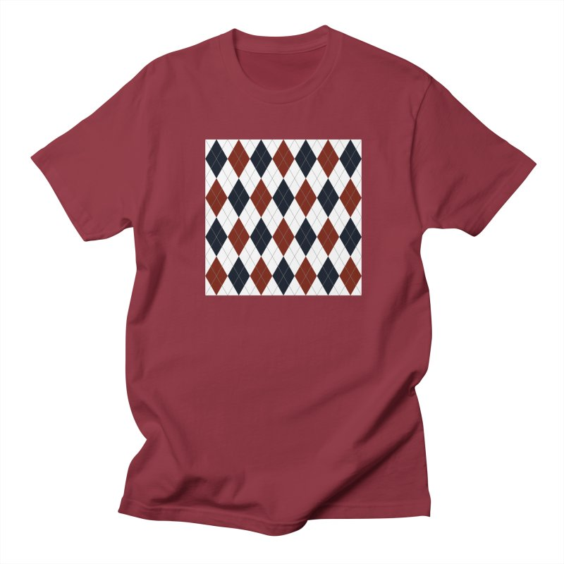 FLD Blue Red Argyle Women's Regular Unisex T-Shirt by falconlara.design shop