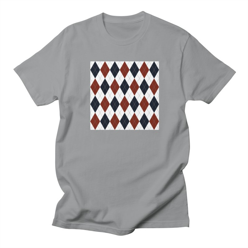 FLD Blue Red Argyle Men's Regular T-Shirt by falconlara.design shop