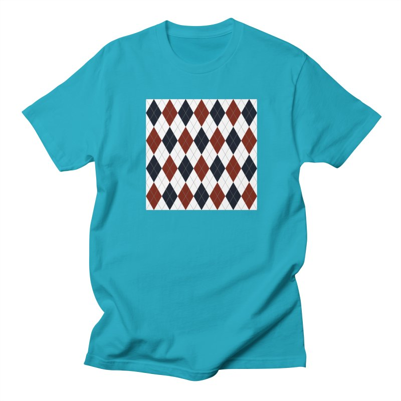 FLD Blue Red Argyle Men's Regular T-Shirt by falconlara.design shop