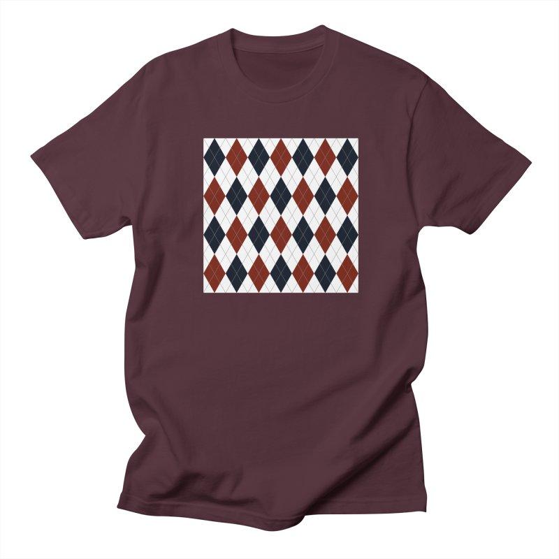 FLD Blue Red Argyle Women's Regular Unisex T-Shirt by falconlara.design shop