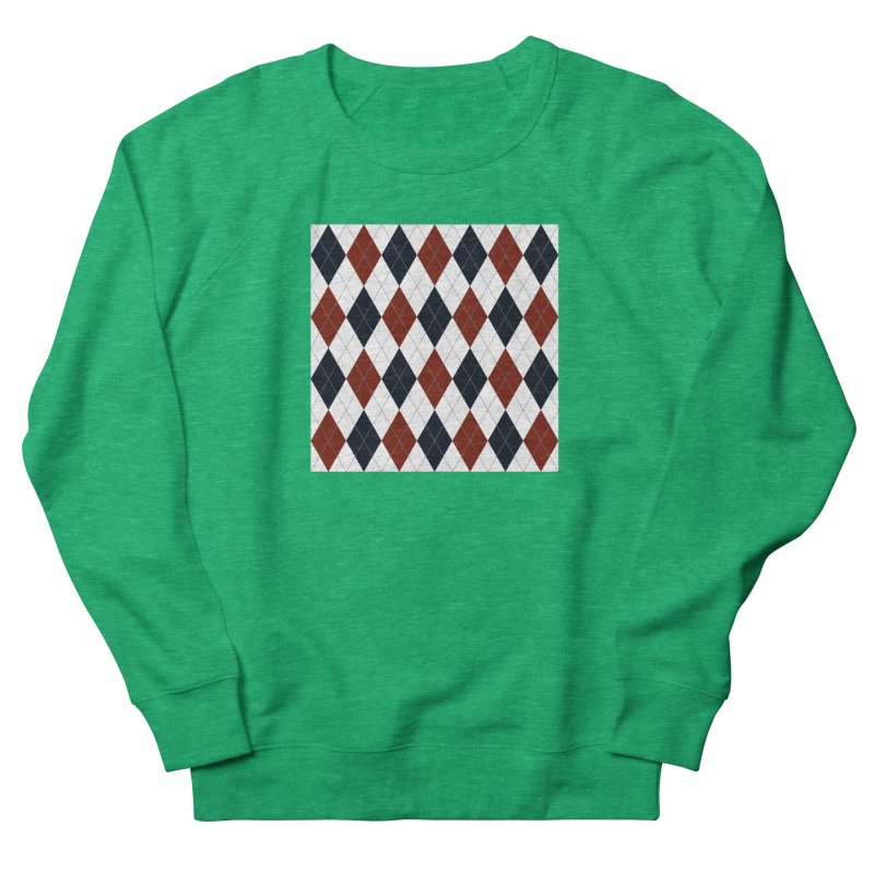 FLD Blue Red Argyle Women's French Terry Sweatshirt by falconlara.design shop