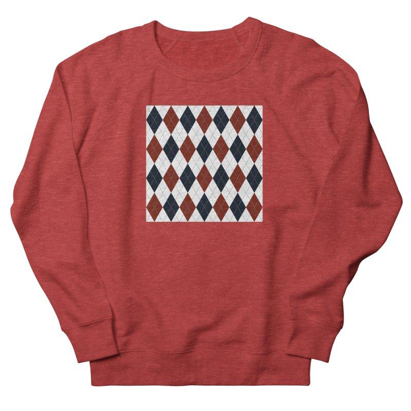 FLD Blue Red Argyle Men's French Terry Sweatshirt by falconlara.design shop