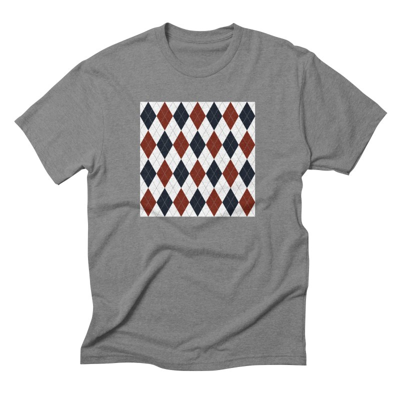 FLD Blue Red Argyle Men's Triblend T-Shirt by falconlara.design shop
