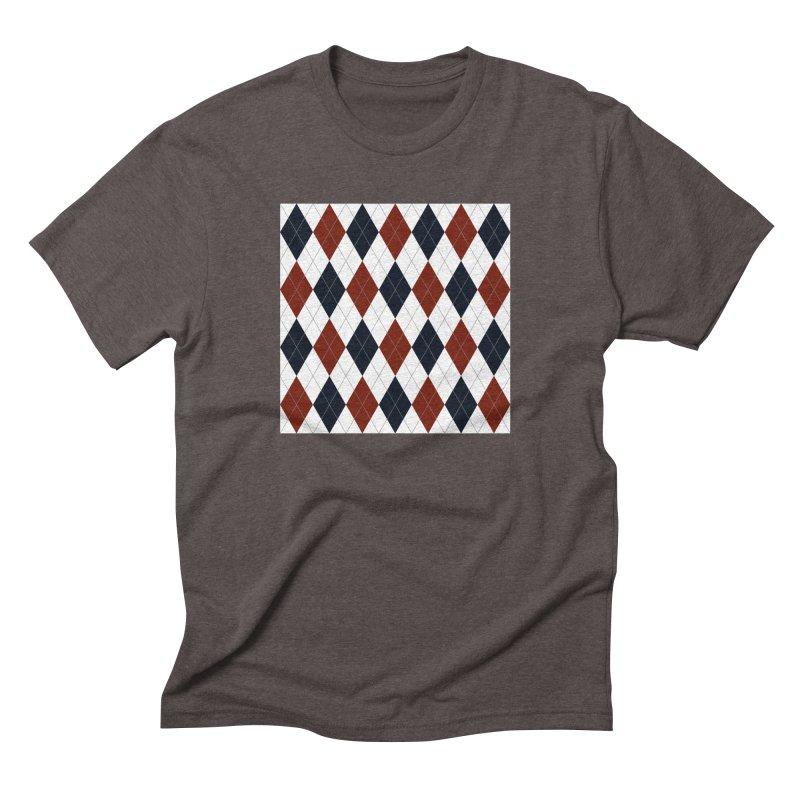 FLD Blue Red Argyle Men's Triblend T-Shirt by falconlara.design shop