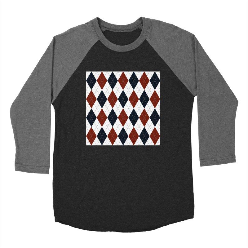 FLD Blue Red Argyle Women's Baseball Triblend Longsleeve T-Shirt by falconlara.design shop