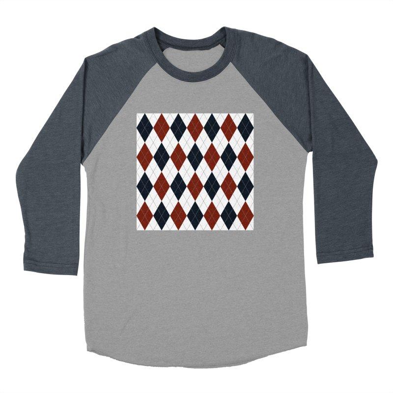 FLD Blue Red Argyle Men's Baseball Triblend Longsleeve T-Shirt by falconlara.design shop