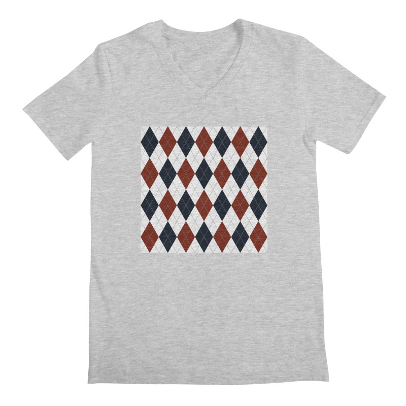 FLD Blue Red Argyle Men's Regular V-Neck by falconlara.design shop