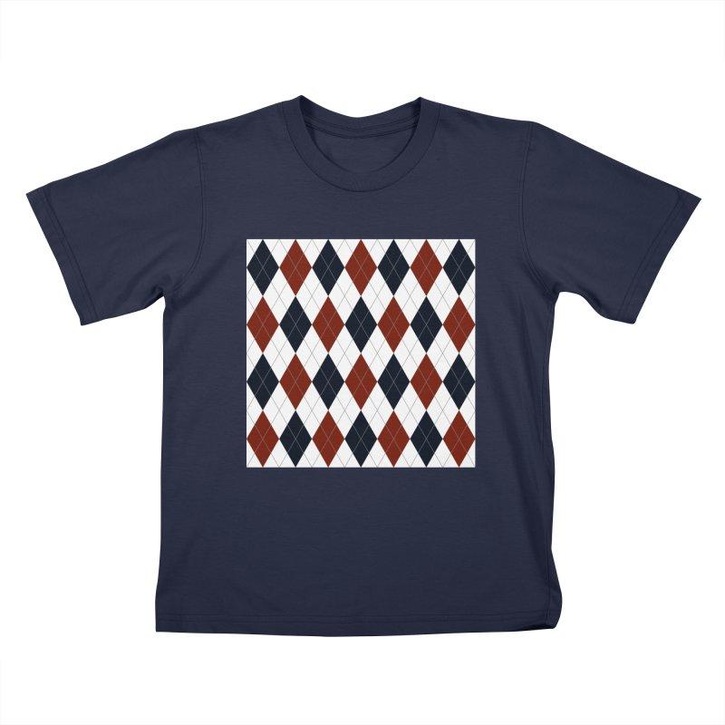 FLD Blue Red Argyle Kids T-Shirt by falconlara.design shop