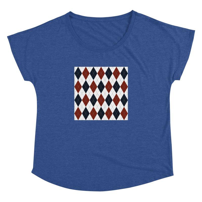 FLD Blue Red Argyle Women's Dolman Scoop Neck by falconlara.design shop