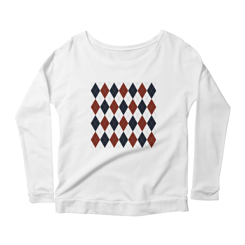 FLD Blue Red Argyle Women's Scoop Neck Longsleeve T-Shirt by falconlara.design shop