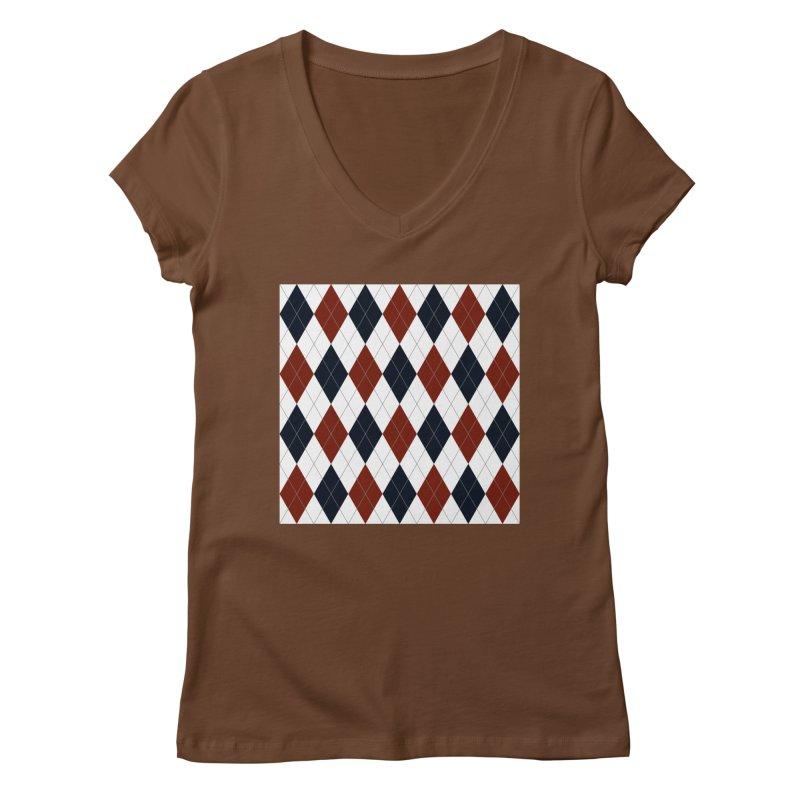 FLD Blue Red Argyle Women's Regular V-Neck by falconlara.design shop