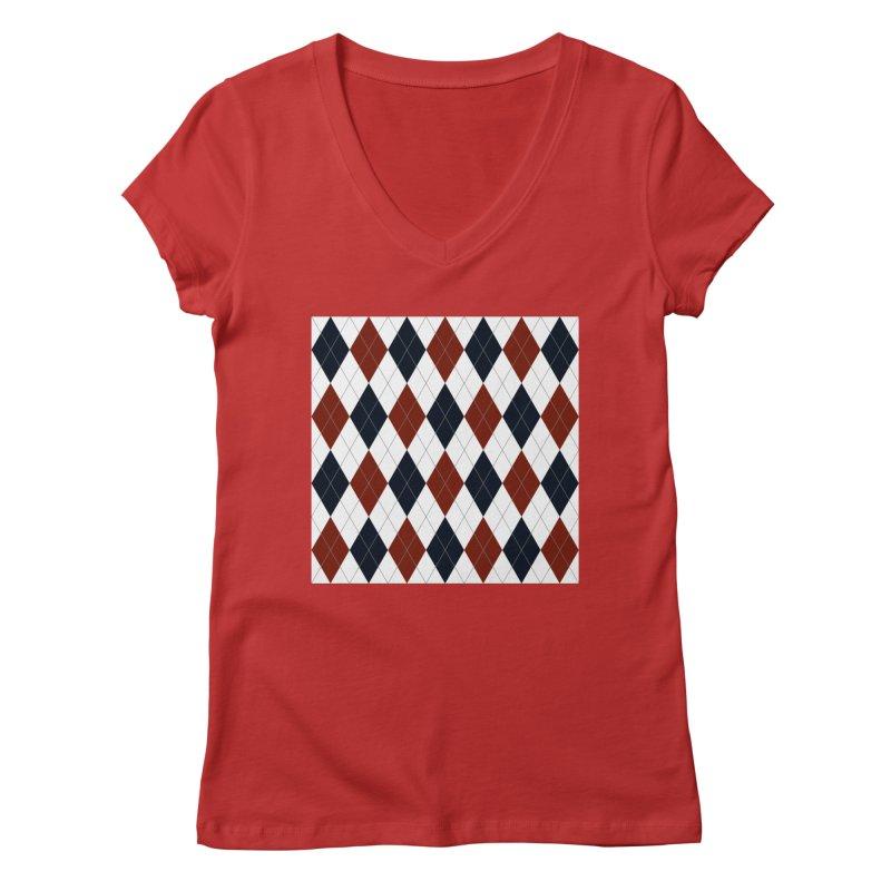 FLD Blue Red Argyle Women's Regular V-Neck by falconlara.design shop