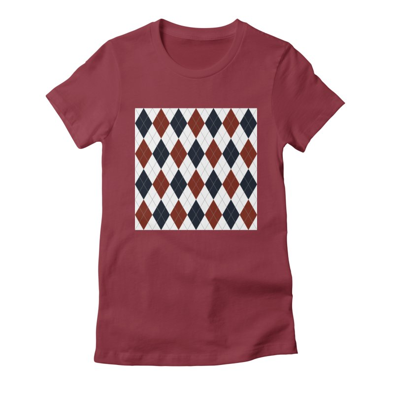 FLD Blue Red Argyle Women's Fitted T-Shirt by falconlara.design shop