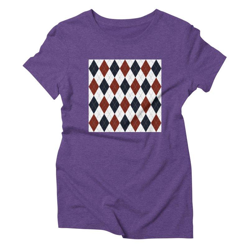 FLD Blue Red Argyle Women's Triblend T-Shirt by falconlara.design shop