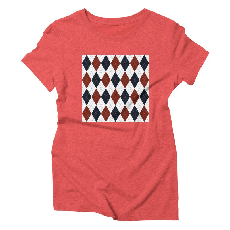 FLD Blue Red Argyle Women's Triblend T-Shirt by falconlara.design shop