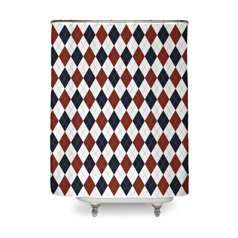 FLD Blue Red Argyle Home Shower Curtain by falconlara.design shop