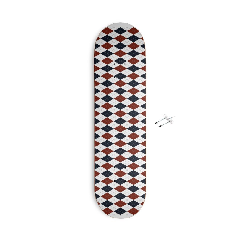 FLD Blue Red Argyle Accessories With Hanging Hardware Skateboard by falconlara.design shop