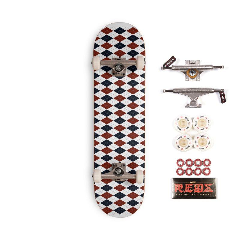 FLD Blue Red Argyle Accessories Complete - Pro Skateboard by falconlara.design shop