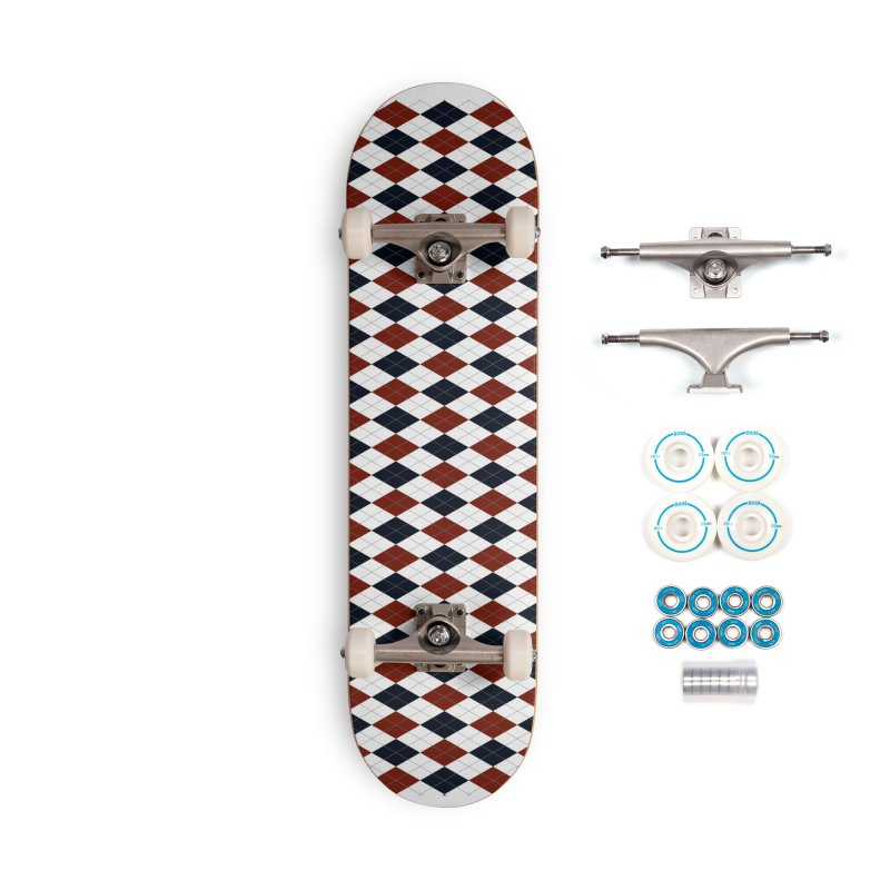 FLD Blue Red Argyle Accessories Complete - Basic Skateboard by falconlara.design shop