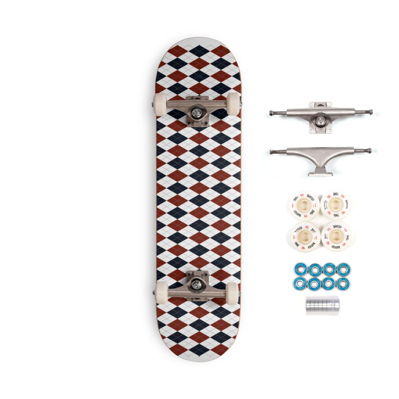 FLD Blue Red Argyle Accessories Complete - Premium Skateboard by falconlara.design shop