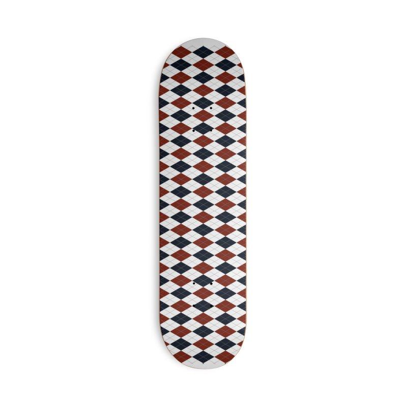 FLD Blue Red Argyle Accessories Deck Only Skateboard by falconlara.design shop