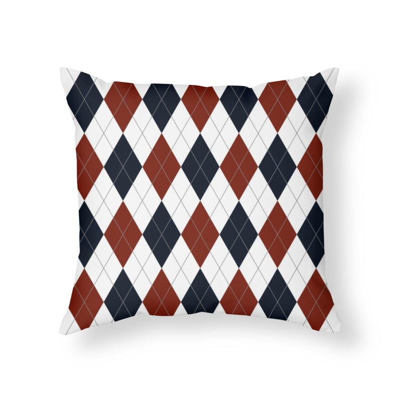 FLD Blue Red Argyle Home Throw Pillow by falconlara.design shop