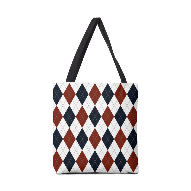 FLD Blue Red Argyle Accessories Tote Bag Bag by falconlara.design shop
