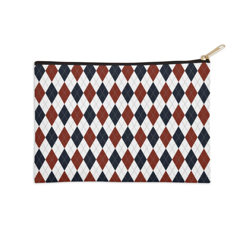 FLD Blue Red Argyle Accessories Zip Pouch by falconlara.design shop