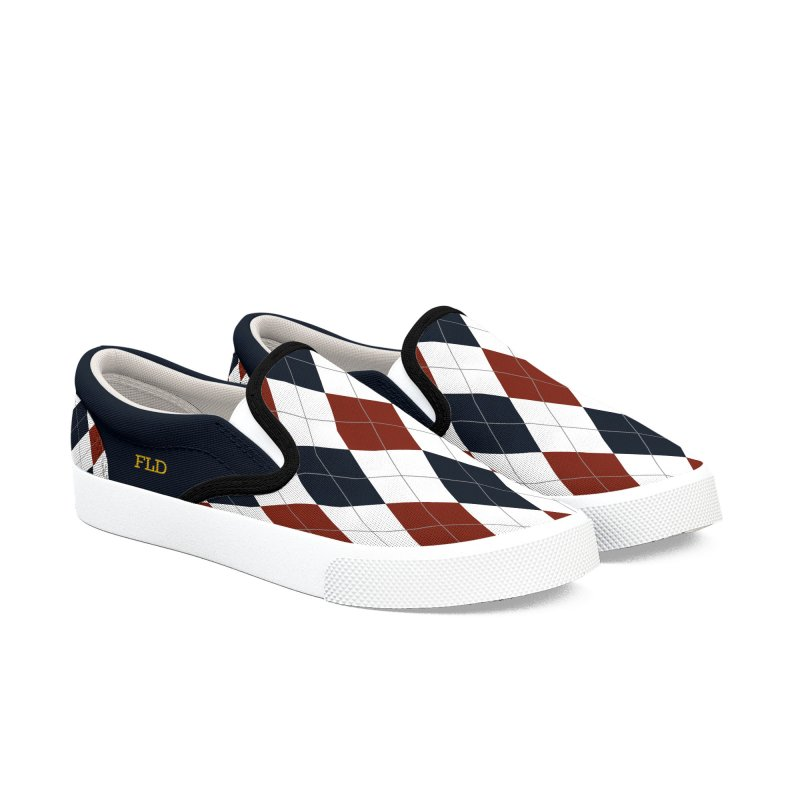 FLD Blue-Red Argyle Shoes Men's Slip-On Shoes by falconlara.design shop