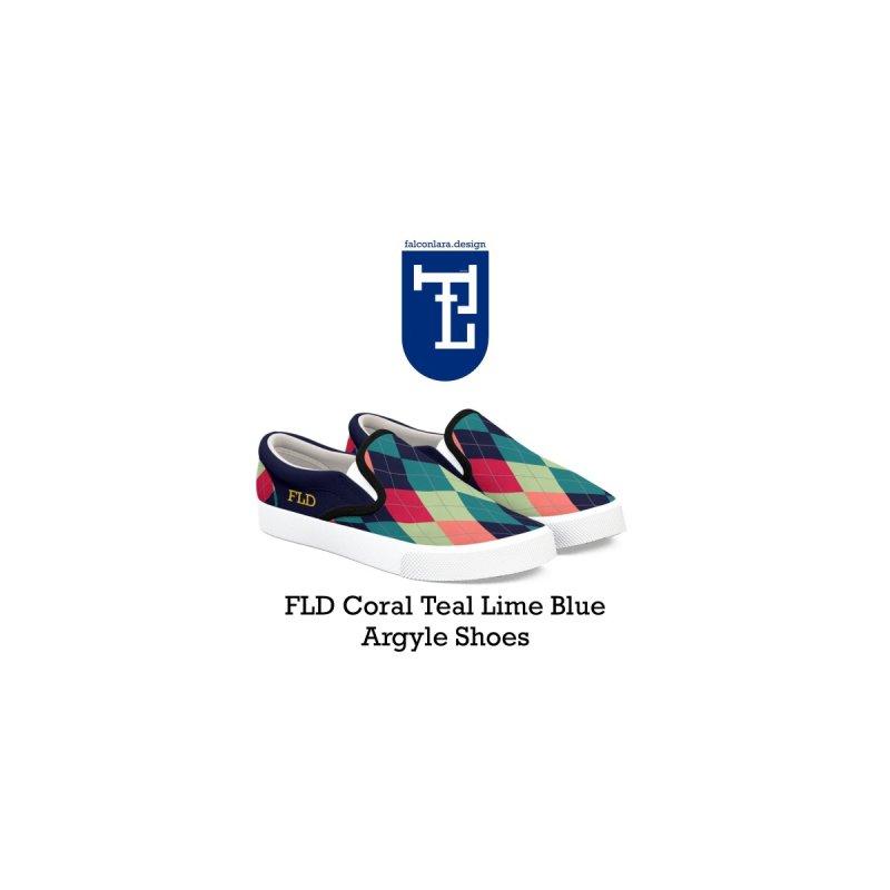 FLD Blue Teal Coral Lime Argyle Shoes by falconlara.design shop