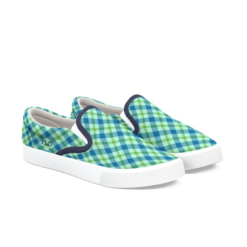 FLD Blue-Green Tartan Shoes Men's Slip-On Shoes by falconlara.design shop
