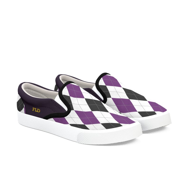 FLD Purple Gray Argyle Shoes Men's Slip-On Shoes by falconlara.design shop