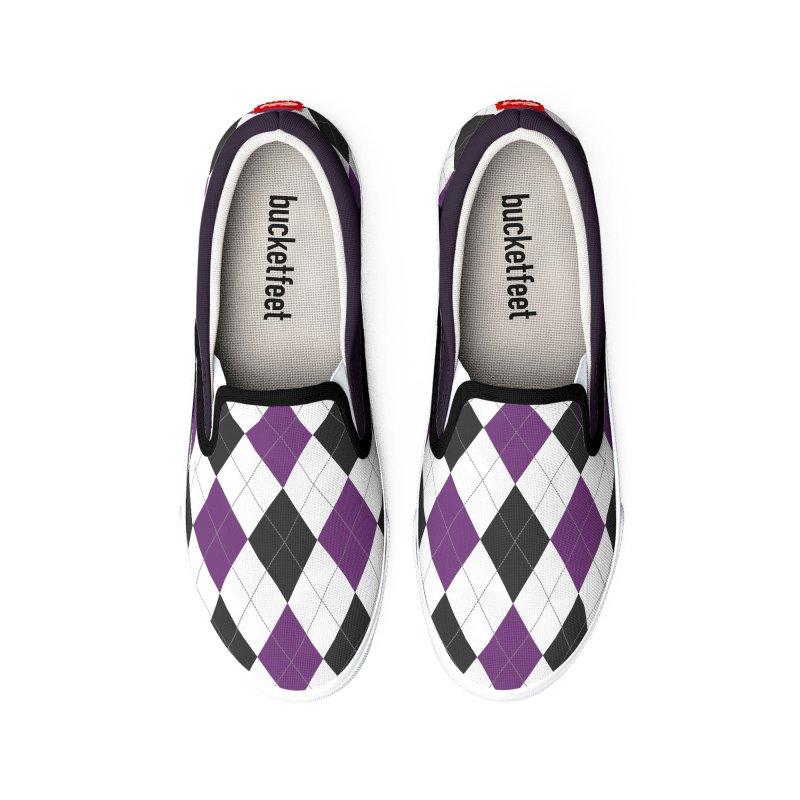 FLD Purple Gray Argyle Shoes Men's Shoes by falconlara.design shop