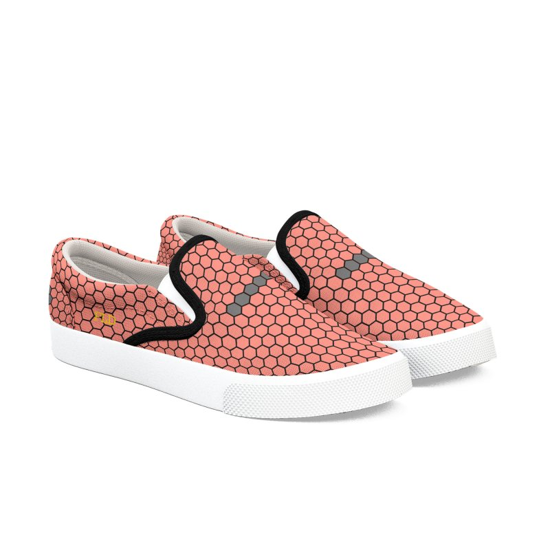 FLD Coral Honeycomb Shoes Men's Slip-On Shoes by falconlara.design shop