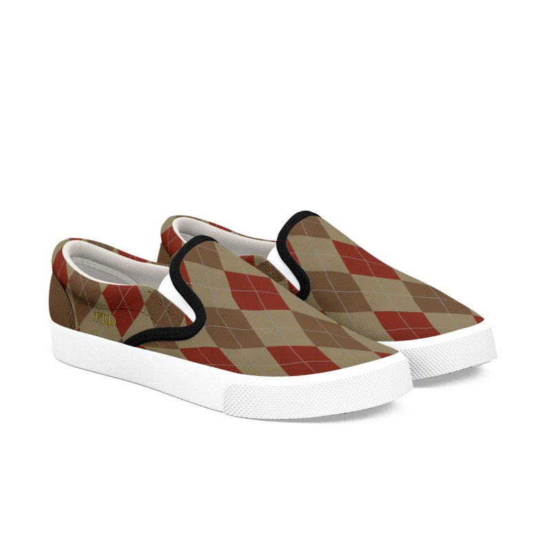 FLD Brown Red Argyle Shoes Men's Slip-On Shoes by falconlara.design shop
