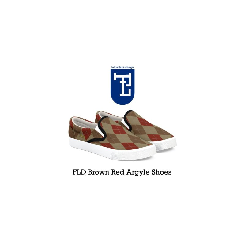 FLD Brown Red Argyle Shoes by falconlara.design shop