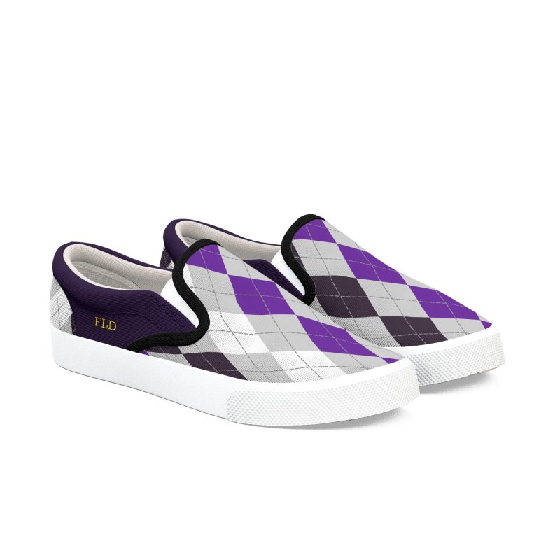 FLD Purple Gray White Black Argyle Shoes Women's Slip-On Shoes by falconlara.design shop