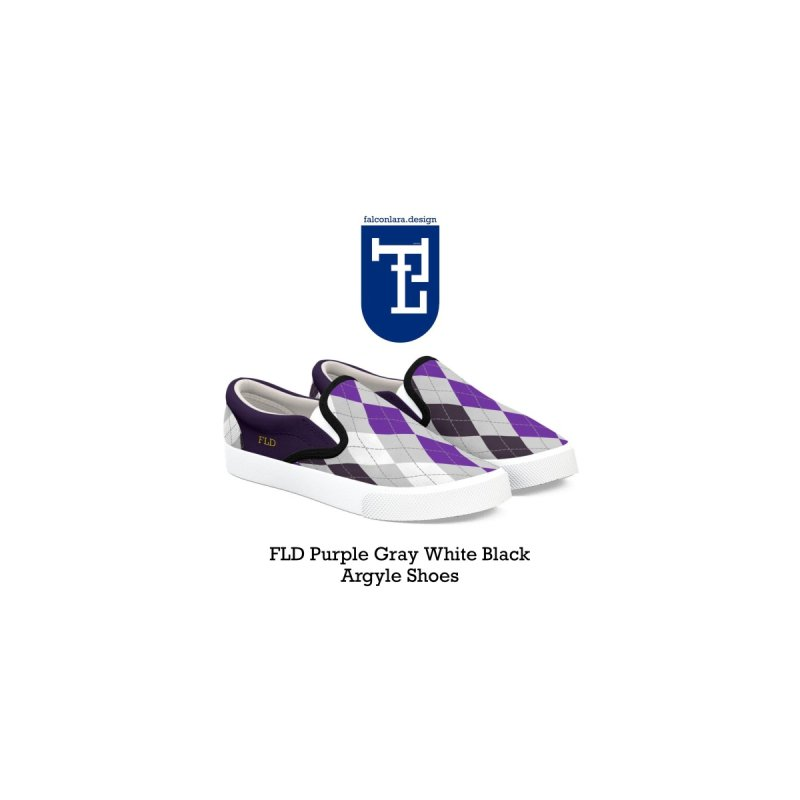 FLD Purple Gray White Black Argyle Shoes by falconlara.design shop