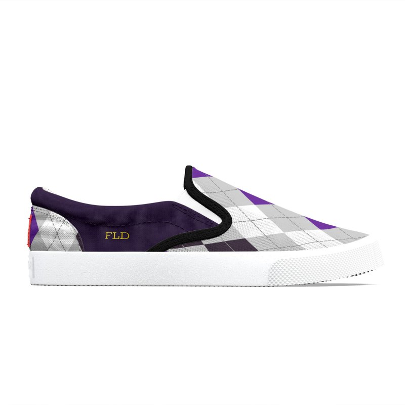 FLD Purple Gray White Black Argyle Shoes Men's Shoes by falconlara.design shop