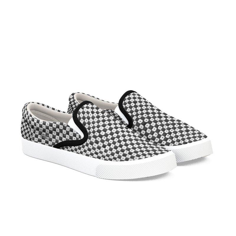 FLD Dutch Chessboard Black Shoes Women's Slip-On Shoes by falconlara.design shop
